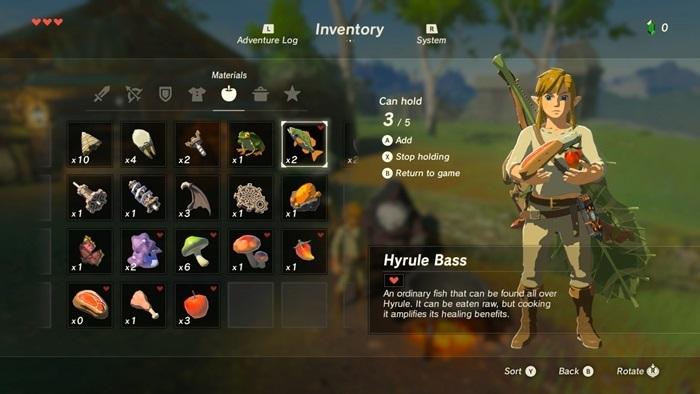 Zelda Breath of the Wild inventario